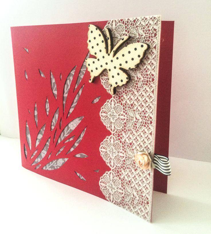 Handmade Greetings Card - Unique Card - Blank Card - Elegant - Butterfly Polka Dot - Modern Card - Die Cut Card - Love - Embossed - Paper de la boutique MademoiselleCraft sur Etsy
