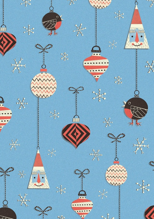 Joe Mclean produces this gift wrap design for Christmas.