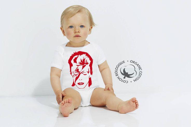 """bébé rock - david bowie - boby bébé - body - body 100% coton biologique - body biologique - bébé -"""" red bowie """" - vêtement bébé  - body bio- de la boutique Biosphereshop sur Etsy"""