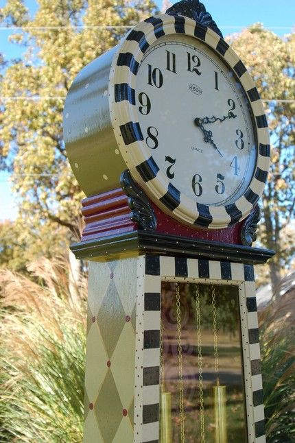 Attractive Grandfather Clock Hand Painted Whimsical By Madteapartyfurniture,