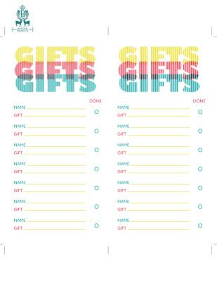 25 Days of Freebies and Giveaways: Day Eight, Printable gift lists