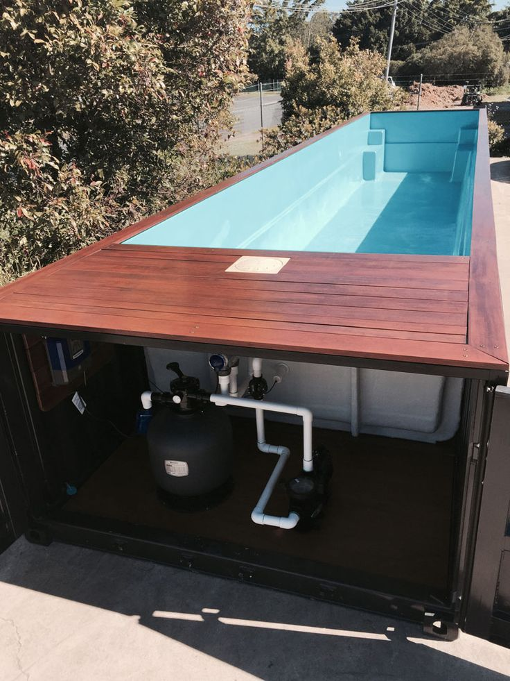 Shipping container swimming pool - great for weekend cottage without the cost of a regular poured pool.