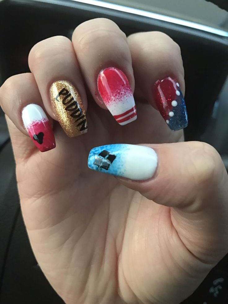 Photo of Pro Top Nails - Anaheim, CA, United States. Harley Quinn nails for my Halloween costume