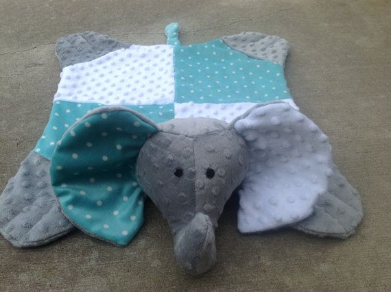 Patchwork Teal and white polka dot and white / grey minky dimple dot elephant snuggle blanket/children/baby/toy