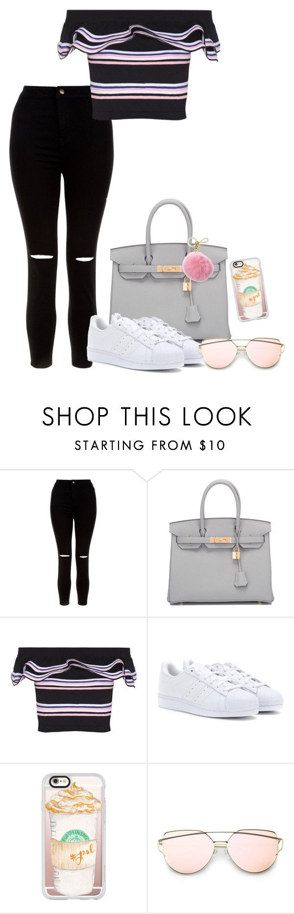 """City"" by grraciie-386 on Polyvore featuring New Look, Hermès, MSGM, adidas, Casetify and Michael Kors"