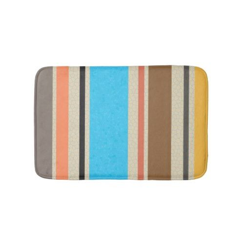 Mediterranean Beach Color Stripe Tile Pattern Bath Mat