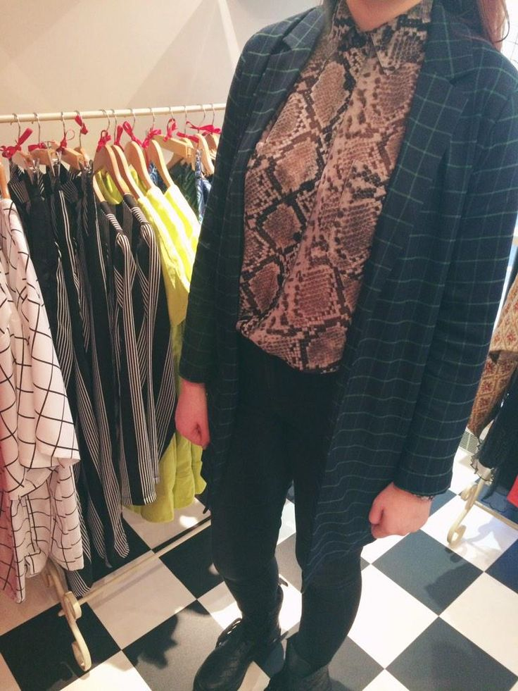 Lucy wearing our check duster jacket and snakeskin shirt! Come in store for 10% off until the end of #January!!