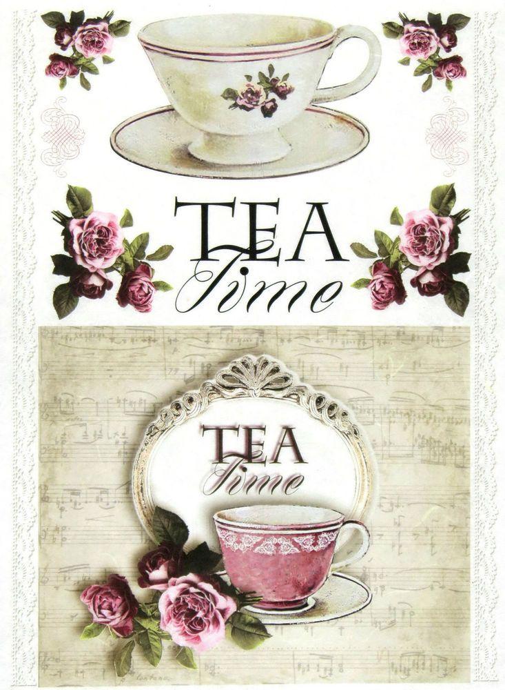 Ricepaper/Decoupage paper,Scrapbooking Sheets /Craft Paper Vintage Tea Time