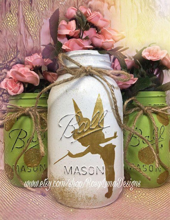 Tinkerbell Birthday Party Jars Fairy Nursery Jars Fairy Room Decor Teacher Deak Decor