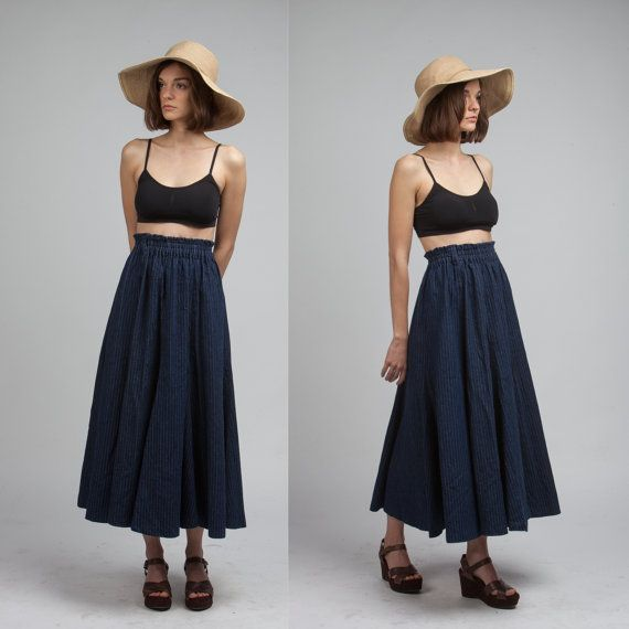 Vintage Denim Long Skirt Indigo Pin Stripe Jean Maxi by Wenojean