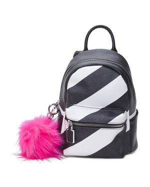 Striped Backpack With Pink Pom