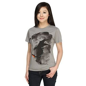 Exclusive Alpha Strike Ladies' Tee- NIGHT FURY! GET DOWN!  No dragon can resist the Alpha's command. So, he who controls the Alpha controls them all. - Drago Bludvist, How To Train Your Dragon 2 Or, well, almost all. There might be some notable exceptions which make How to Train Your Dragon 2 just a bit more exciting.  Jenna Giberson's design on an asphalt ladies' shirt.