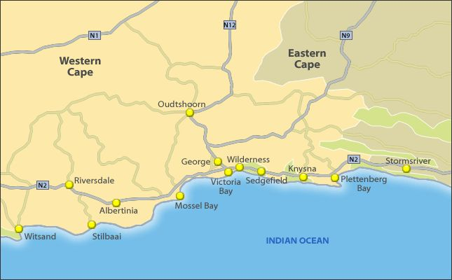 Tourist Map of Garden Route, South Africa