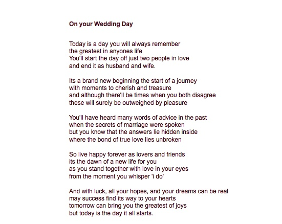 Poems For Children To Read At Weddings: I Think This One Says The Same As Dr.suess, Only It Is