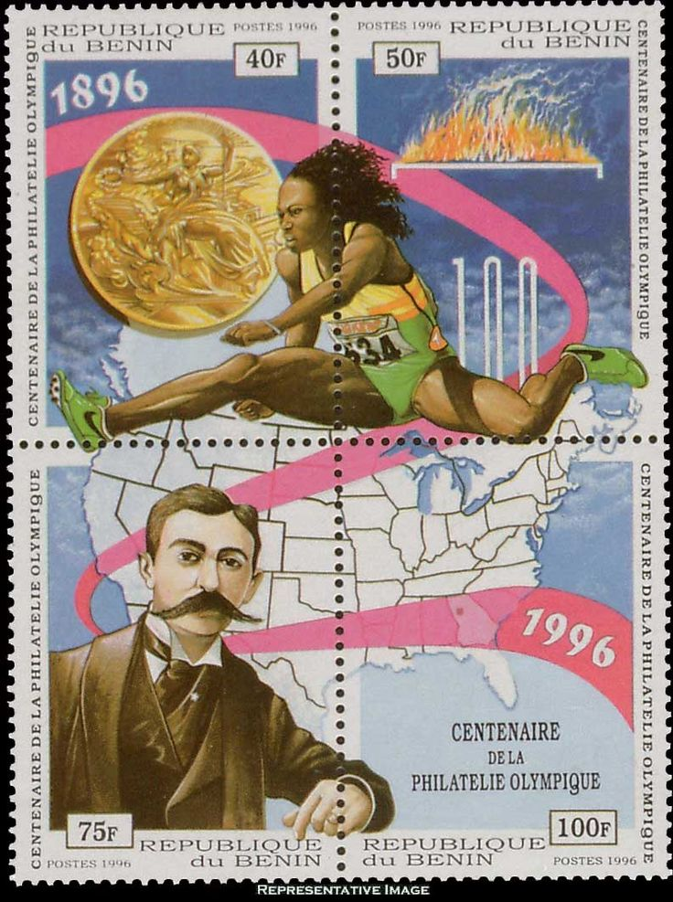 Benin Scott #864 1996 40F, 50F, 75F and 100F Block of Four Modern Olympic Games Centennial.