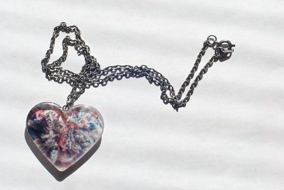 CHERRY PIE Weed Resin Photo Pendant Heart by RosstaCreations, $25.00