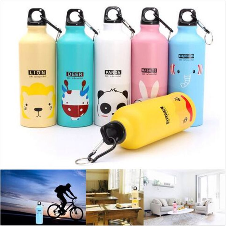 Quality Lovely Animals Outdoor Portable Sports Bicycle Water bottleTop Cycling Camping Bicycle Aluminum Alloy kids Water bottle