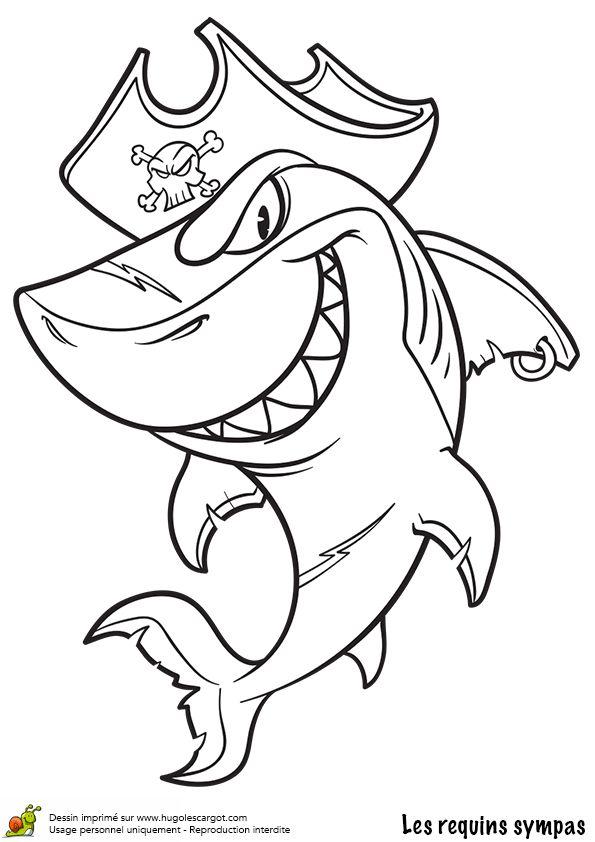 Dessin à colorier d'un requin déguisé en pirate
