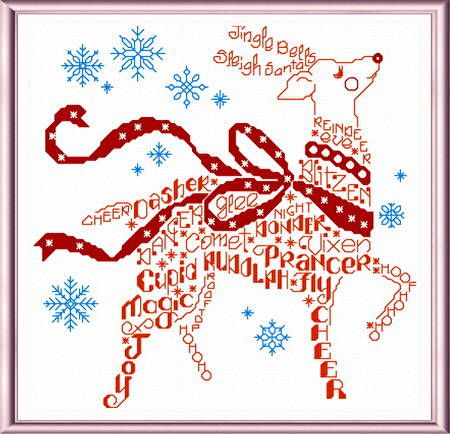 Lets Find Rudolph - cross stitch pattern designed by Ursula Michael. Category: Words.