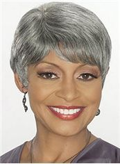 Fancy Short Straight Gray African American Wigs for Women 6 Inch