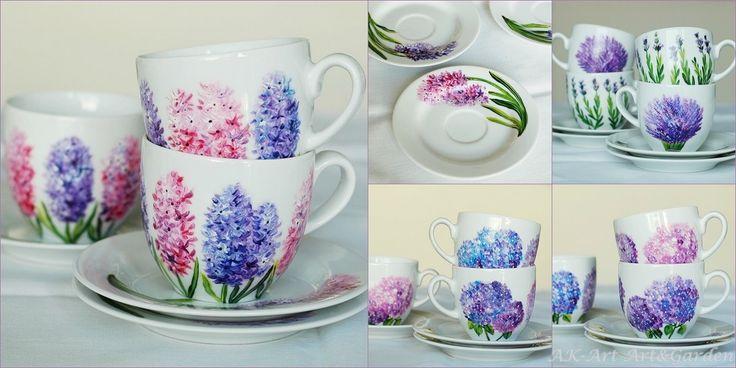 Ręcznie malowane filiżanki. Hand painted cups - hydrangeas, lavender, hyacinths. Handbemalte Tassen mit Hyazinthen, Hortensien, Lavendel