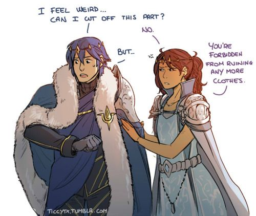 Chrom got finally a pretty cape, I just hope he won't ruin it like all his other clothes… Also I finally have a chance to use the queen outfit I drew a year ago for Robin o/Also a bonus half related but, how to use Father's shoulder pad by Lucina <<< This is great