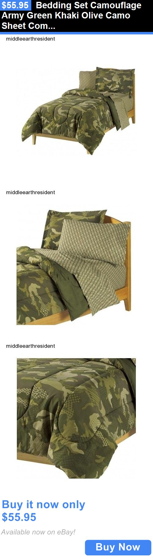 Kids at Home: Bedding Set Camouflage Army Green Khaki Olive Camo Sheet Comforter Twin Full BUY IT NOW ONLY: $55.95
