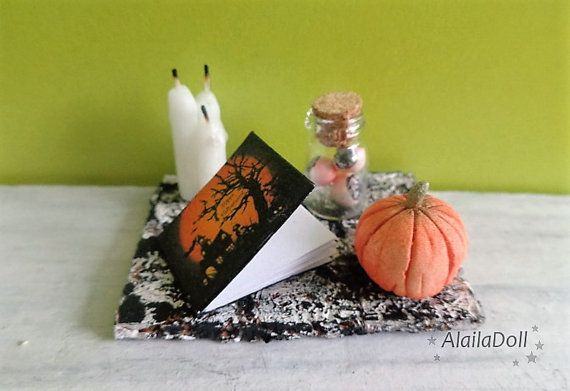 Miniature Halloween Decorations, home decor, candles, creepy book, handmade items, creepy eyeballs in bottle,scale 1:12, mini pumpkin, cork  Size: 3.5 cm (1.4 inch) x 5cm (2 inch)