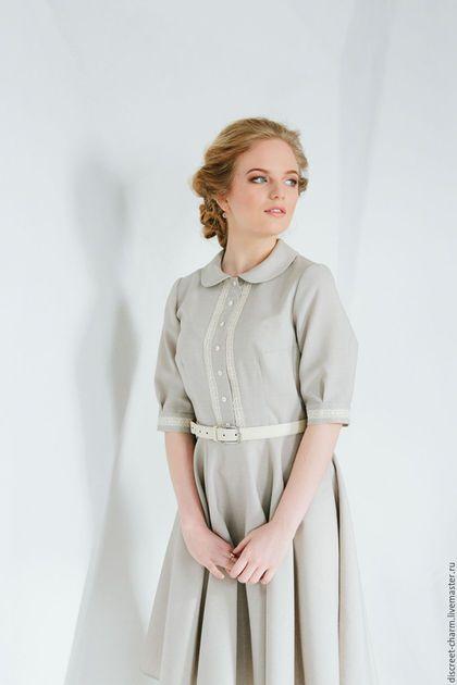 Casual dress / Платья ручной работы. Ярмарка Мастеров - ручная работа. Купить Серое весеннее (летнее) платье с кружевом, юбка-солнце. Handmade.