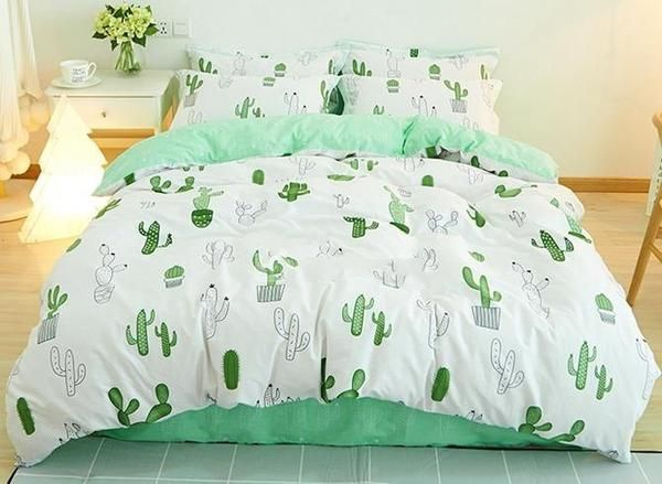 Green Cactus Print Fresh Style Cotton Lxury 4 Piece Bedding Sets Bedroom Design Bedding Sets White Bed Set