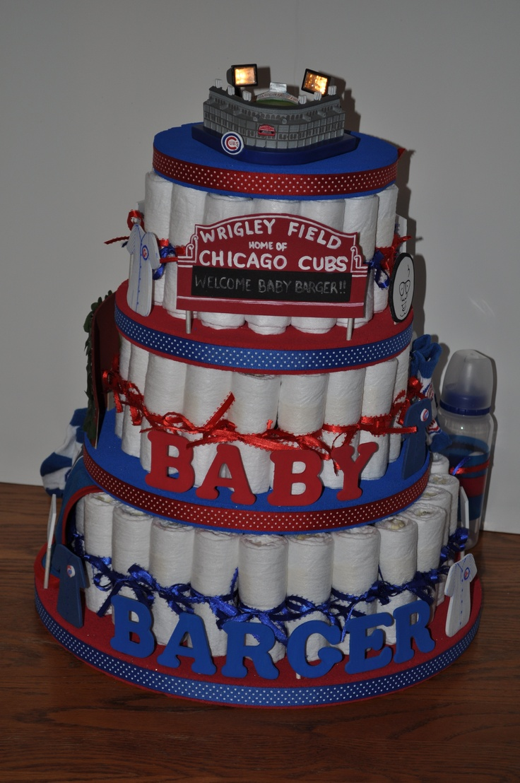 Chicago Cubs diaper cake! Someone make me this when the time comes