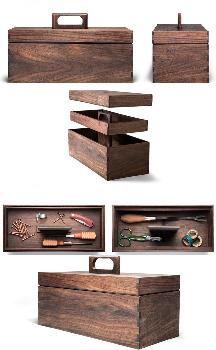 Handmade tool box hewn from Nicaraguan walnut. Interior tray for screws, nails and storage of other small items. Large lower compartment for hammers and screwdrivers. Measures 14 inches long x 6 ½ inches deep x 6 inches high.