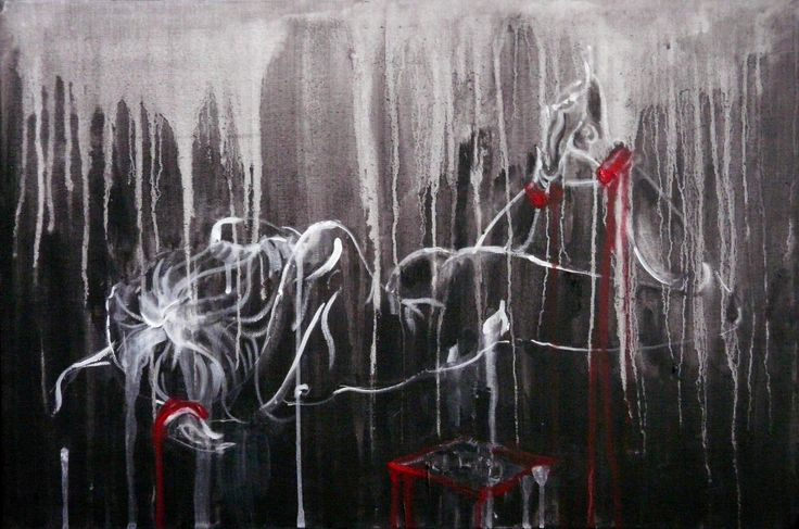 Tempera painting for sale figurative art nude art  abstract black and white
