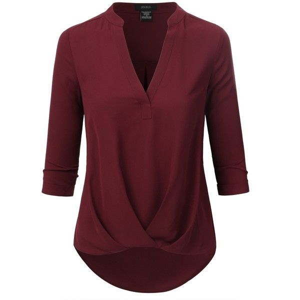 Doublju Womens 3/4 Sleeve High-Low Popover Blouse Top ($27) ❤ liked on Polyvore featuring tops, blouses, 3/4 sleeve blouse, three quarter sleeve tops, red top, three quarter sleeve blouses and 3/4 sleeve tops