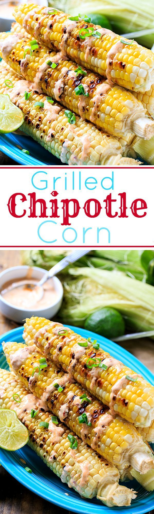 Grilled Corn with Chipotle Mayo spicysouthernkitchen.com