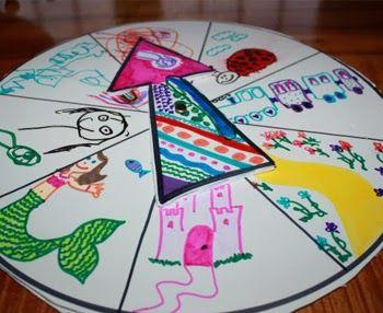 Story Wheel: super Idee! Könnt Ihr auch auf einer einfachen Pappe malen und den Pfeil aus Pappe darauf befestigen. Ihr könnt ganze Geschichten erzählen lassen oder Geschichten mit jeweils einem Satz ergänzen lassen oder oder oder. Füllt locker zwei Nachmittage!