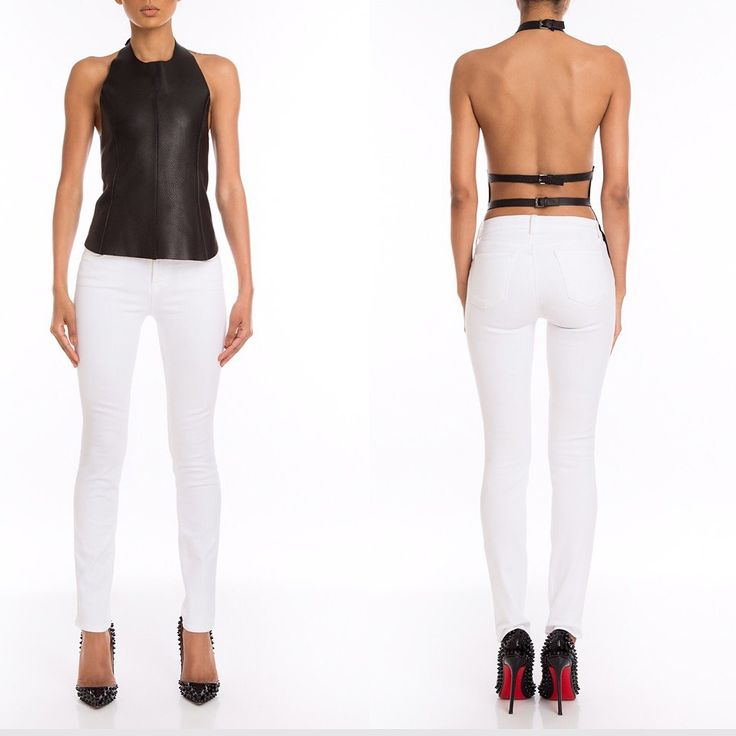 #Manokhi black leather top ,open back ,silver accesories! Available online on www.manokhi.com