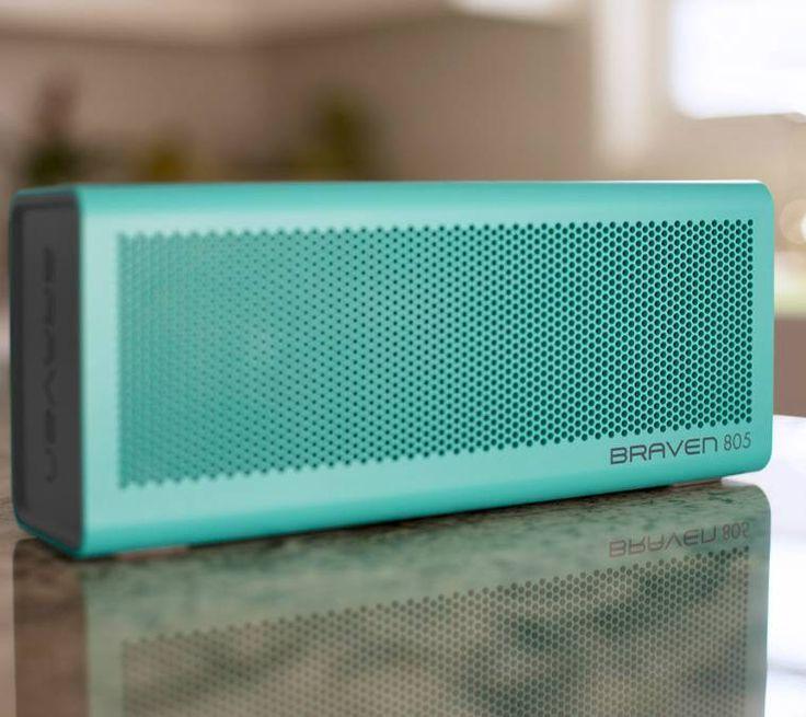 BRAVEN 805 Wireless Bluetooth Speaker -  Teal -  AUDIO  2 high-sensitivity drivers 2 passive radiators Dual-band limiters Built-in microphone & speakerphone SRS WOW HD bass-enhanced music...