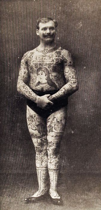 "The Tattooed Man, ""Don Manuelo"", German photo dated 1908. vintage circus."