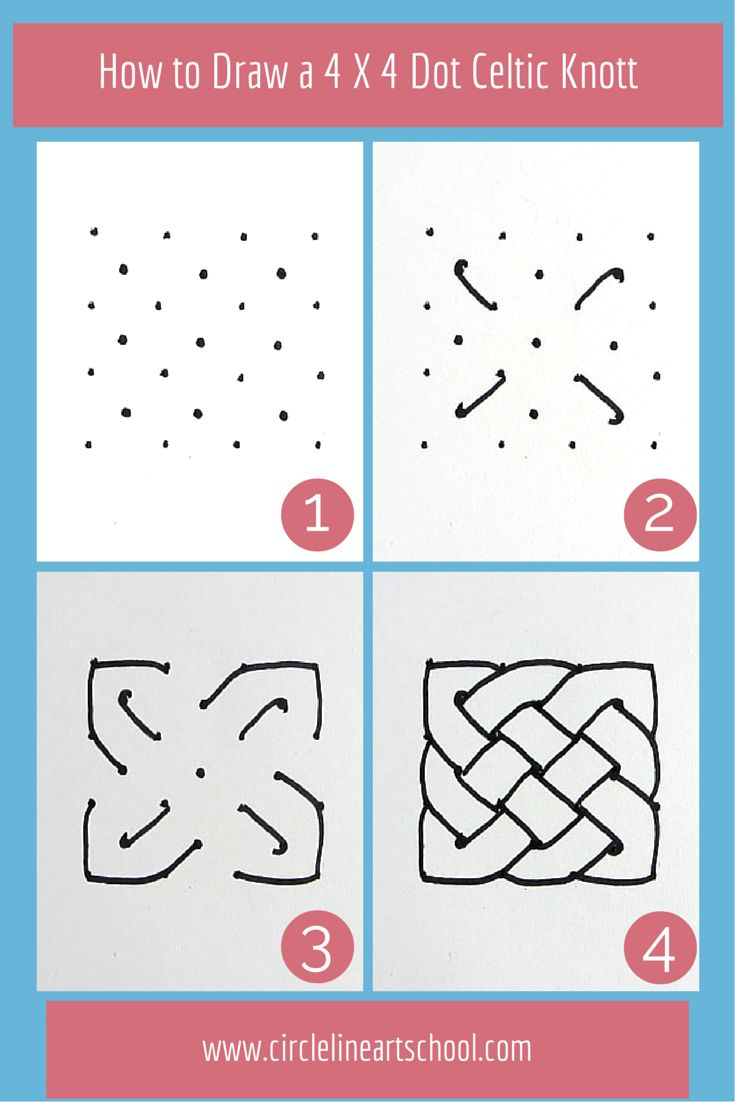 How to draw a Celtic Knot, from Circle Line Art School YouTube video.