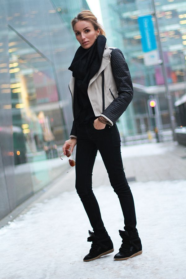 Moto Jackets & Wedge Sneakers.