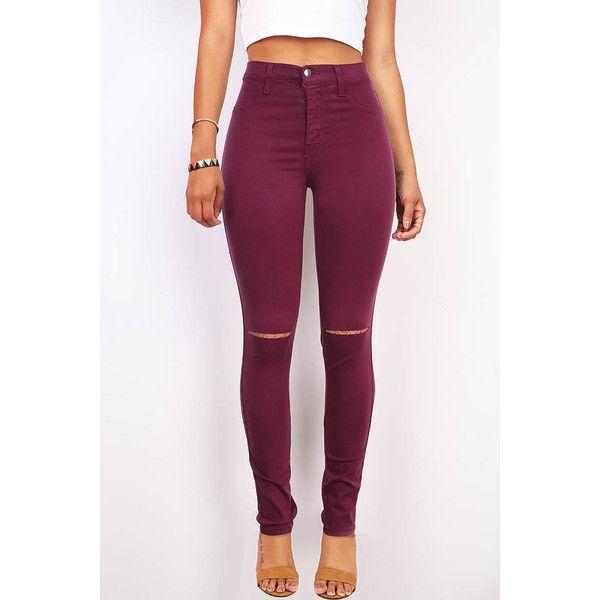VIBRANT Slashed High Waist Skinny Pants ($40) ❤ liked on Polyvore featuring pants, high waisted skinny pants, high-waisted jeggings, high-waisted pants, high waisted jeggings and high-waist trousers
