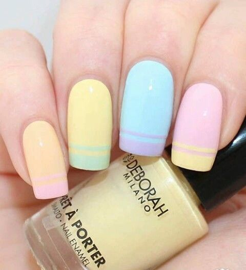 Colorful pastel nails...Sporty stripes...French nails