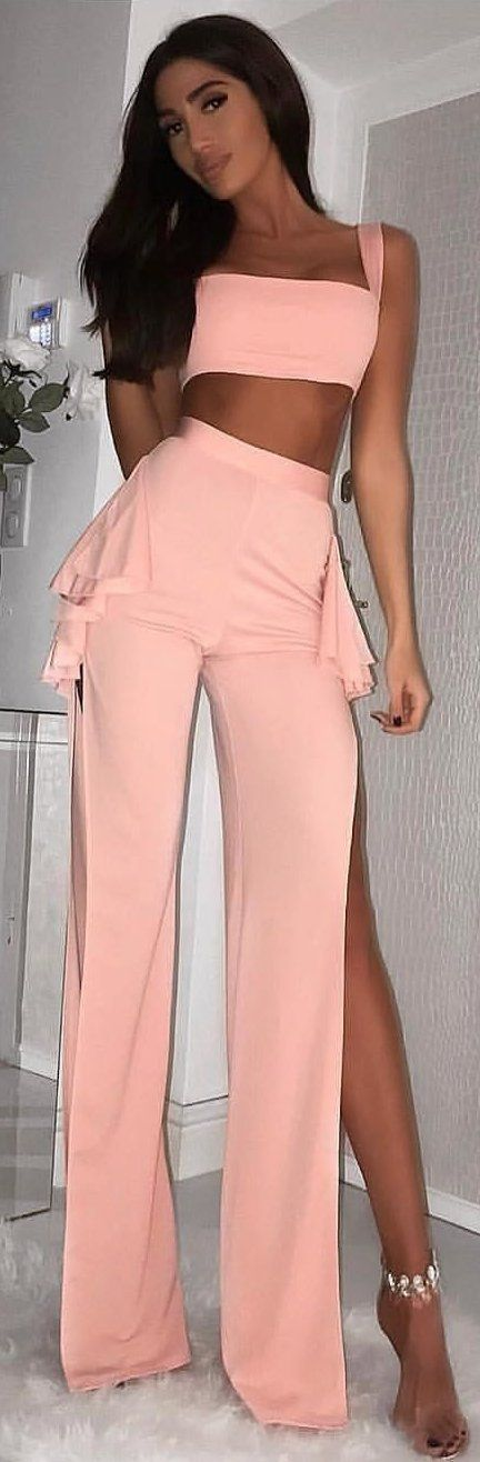 #winter #outfits peach-colored crop top and peplum pants