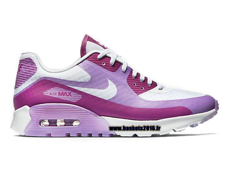 71150cf4ea22 ... Boutique Officielle Nike Air Max 90 Ultra BR Chaussures De BasketBall  Pour Femme White - violet ...