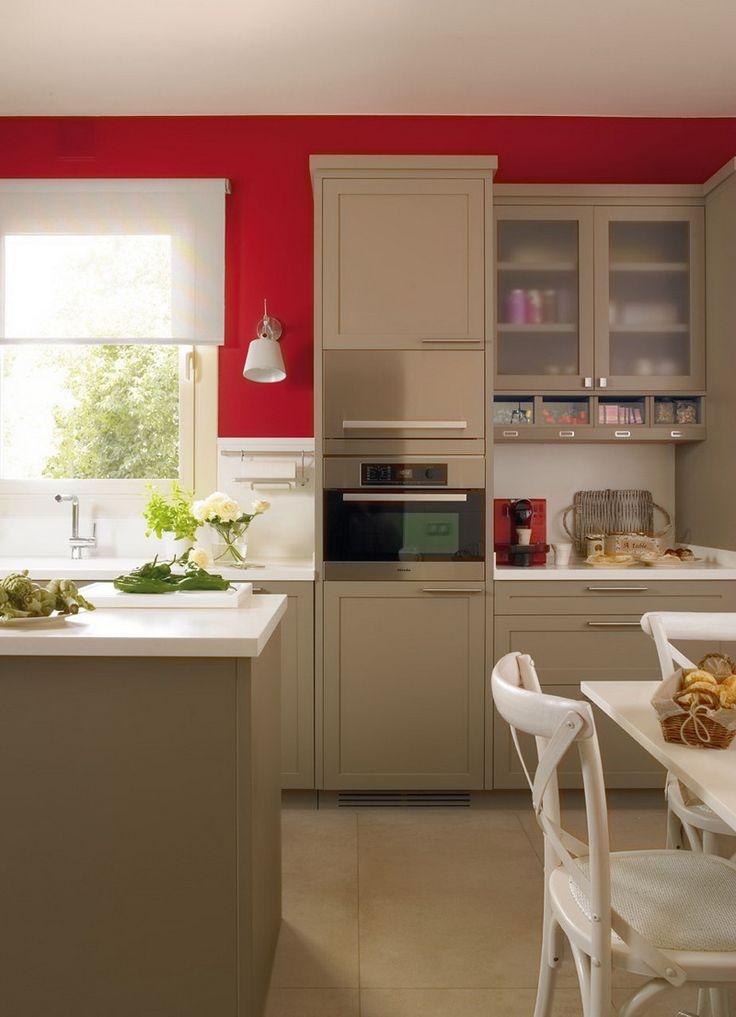 Modern Beige Kitchen Design With Red Walls DigsDigs Where We - modernes bad beige