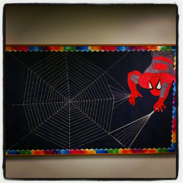 Spiderman bulletin board school pinterest bulletin for Spiderman decorations
