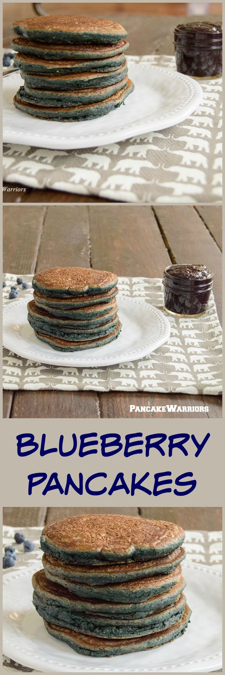 Healthy Blueberry Pancake Recipe - full of blueberries, this gluten free, low fat pancake recipe is the perfect way to start the day!