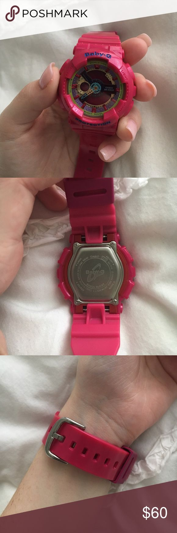 Pink Casino Baby G-Shock! Pink Casio Baby-G BA112-4A! Worn only 1-2 times and it's in great condition! Sadly I didn't keep the box so you won't be getting that with purchase! G-Shock Accessories Watches