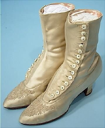c. 1910  Ivory Satin Beaded Wedding Boots